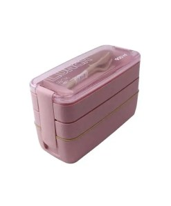 Pink - Eco-Friendly Wheat Straw 3 Layer Lunch Box - Food Container