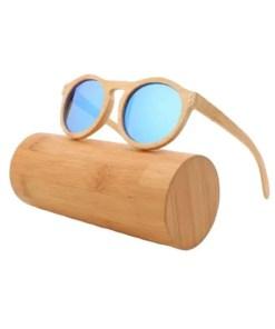 Ice Blue - UV400 Polarized Bamboo Sunglasses - Handmade Lennon Classic