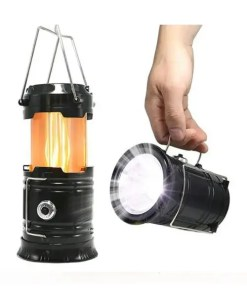 3-in-1 Solar Collapsible Lantern - 2 LED Flame - Flashlight - AND Charger - Cover