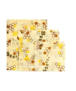 Reusable Cloth Beeswax Wrap - Bee Pattern 3 Wrap Set - Open