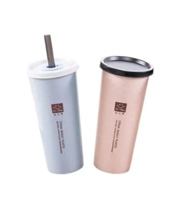 Wheat Straw Travel Cup with Lid and Straw - Cover