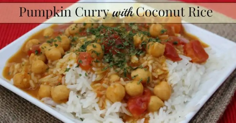 pumpkin curry with coconut rice