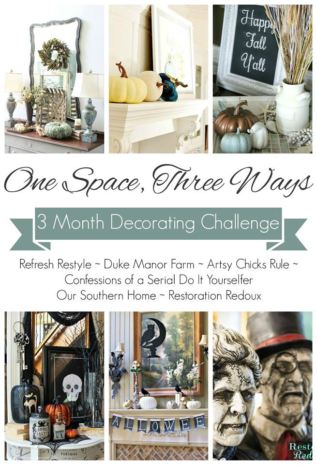 Halloween mantel for #DecorEnthusiast monthly challenge. This go around is One Space, Three Ways {Holiday Edition}