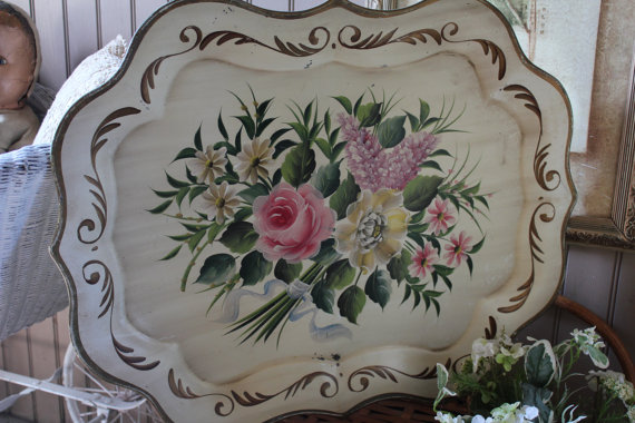 Tole Tray Large Hand Painted Decorative Vitage Floral Serving Tray