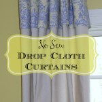 No sew drop cloth curtains with toile fabric from Our Southern Home #dropcloth #dropclothcurtains #nosewcurtains #windowtreatments