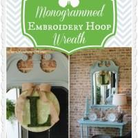 Monogrammed Embroidery Hoop Wreath