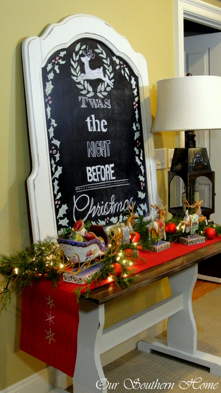 Christmas Chalk art Vignette via Our Southern Home