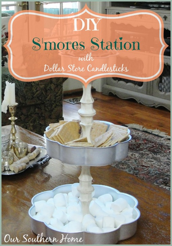S'mores Station made with dollar store candleholders from Our Southern Home #dollarstorechallenge #dollartree #smores #smoresstation #ascp #anniesloanchalkpaint