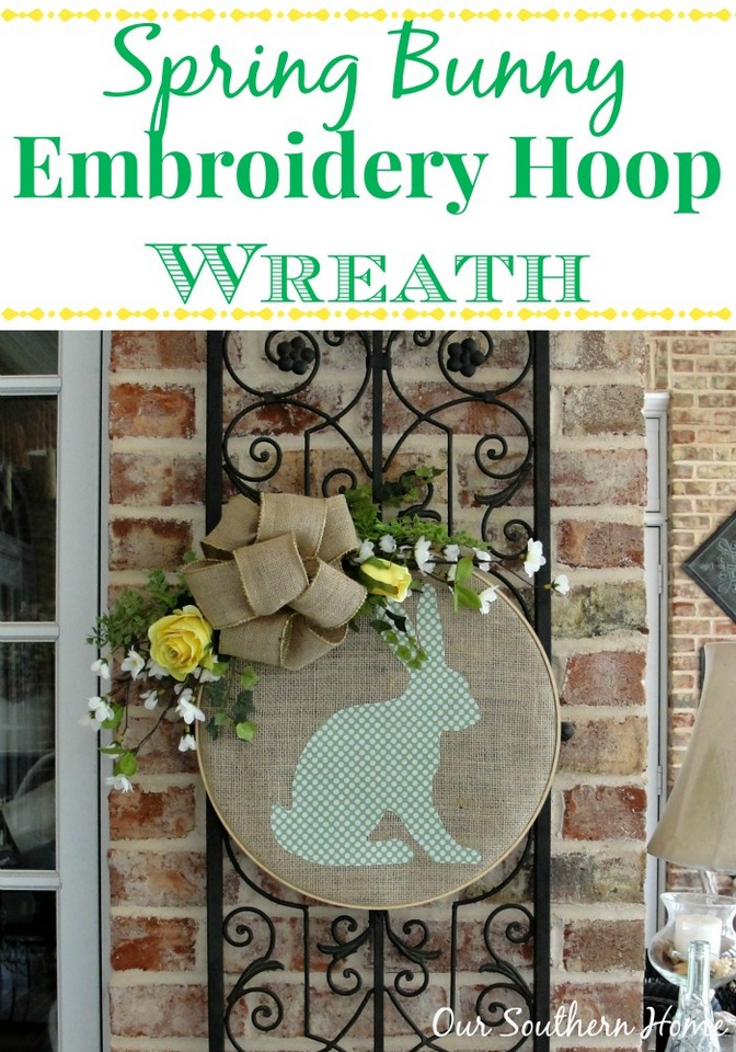 Bunny Hoop Wreath by Our Southern Home #silhouettecameo #springwreath