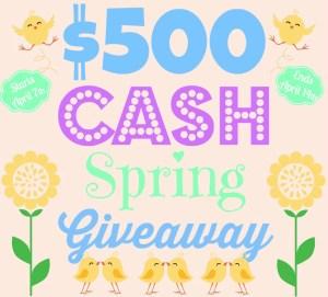 $500 Cash April Giveaway