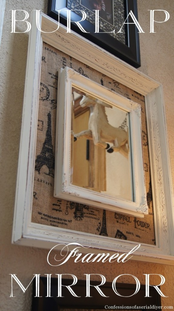 Burlap Framed Mirror from thrift store and yard sale parts