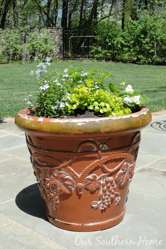 Painting Garden Pots with Annie Sloan Chalk Paint via Our Southern Home