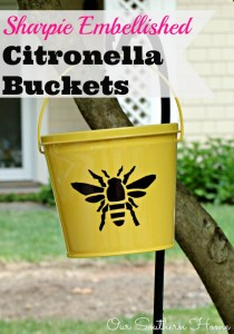 Easy Sharpie Embellished Citronella Buckets
