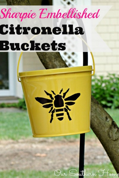 Sharpie Embellished Citronella Buckets by Our Southern Home #sharpie #cutter