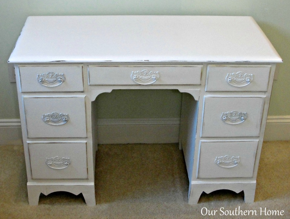 Vintage desk painted with Annie Sloan Chalk Paint in Pure White and decoupaged drawers for an unexpected surprise from Our Southern Home