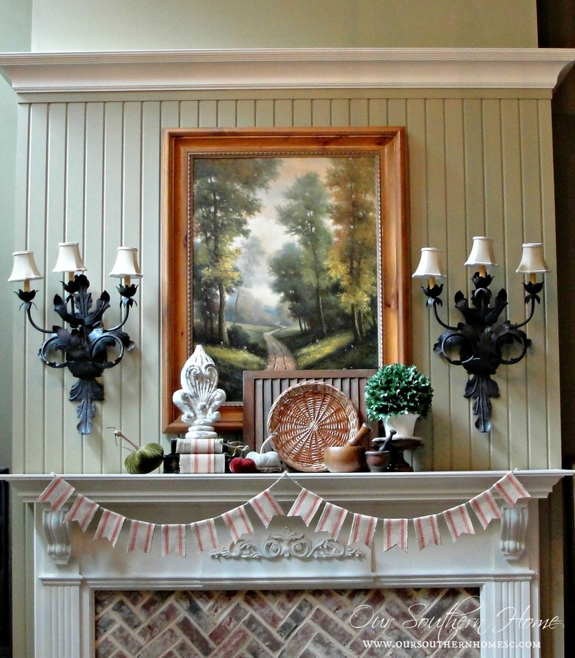 Fall mantel and quick and easy DIY bunting from Our Southern Home #fall