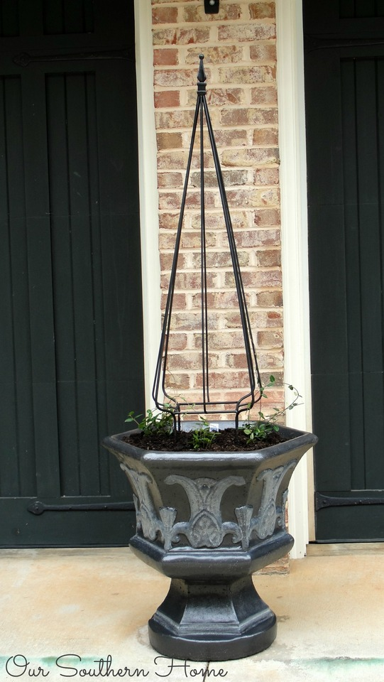 Fall clean up and DIY paint finish for concrete planter via Our Southern Home