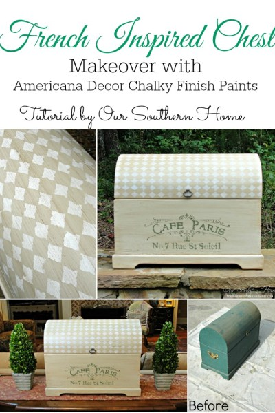 French Inspired Chest Makeover with Americana Decor Chalky Finish Paints via Our Southern Home