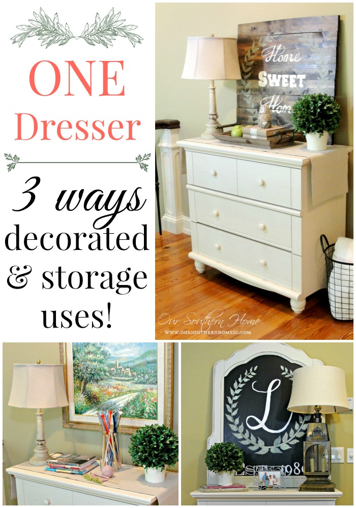 One vintage styled dresser used in three ways from Our Southern Home