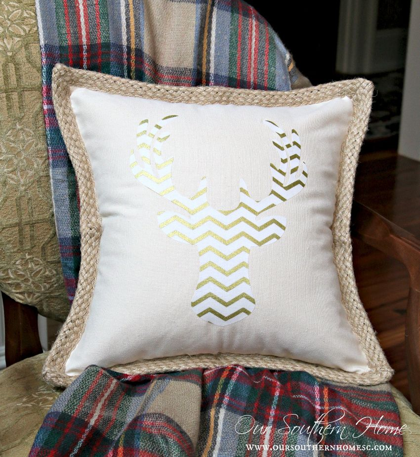 Easy deer pillow made with your Silhouette Cameo or cut free-hand. Use a ready -made pillow cover and it's completed in no time by Our Southern Home