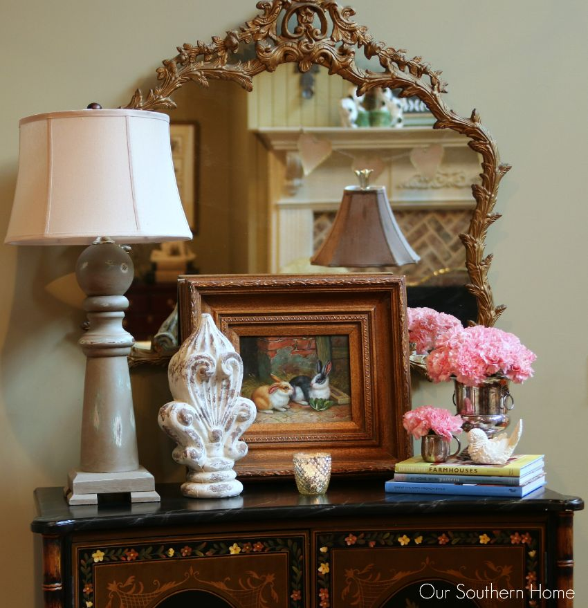 One space, three ways decorating challenge with tips on using what you have by Our Southern Home