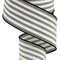 "2.5"" X 10 yd Wired Edge Ticking Ribbon- Beige/Black"