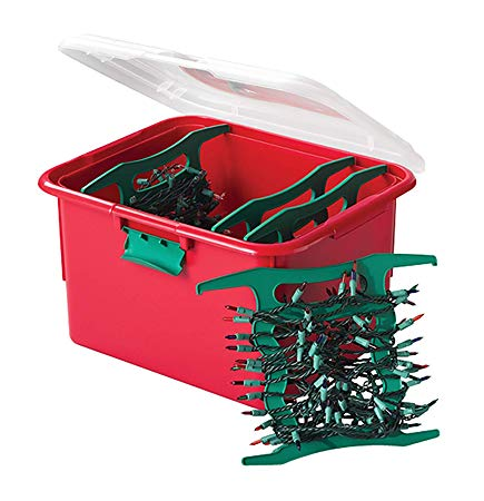 Homz Holiday Light Storage Container with 4 Green Cord Wraps, 6 Pack, Red Base