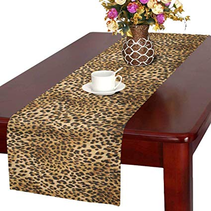 InterestPrint Leopard Skins Colorful Wild Animal Print Table Runner Linen & Cotton Cloth Placemat Home Decor for Kitchen Dining Wedding Party 16 x 72 Inches
