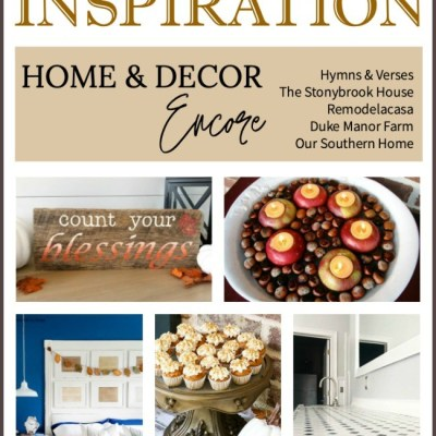 fall graphic with home decor and food