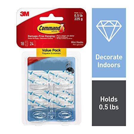 3M Safety Command Mini Hooks, 18 Hooks, 24 Strips, Decorate Damage-Free (17006CLR-18ES)