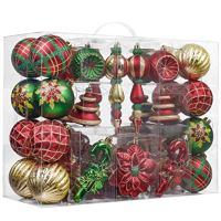 Valery Madelyn 108ct Country Road Shatterproof Christmas Ball Ornaments Decoration Red Green and Gold,2.76Inch-6.89Inch,Themed with Tree Skirt(Not Included)