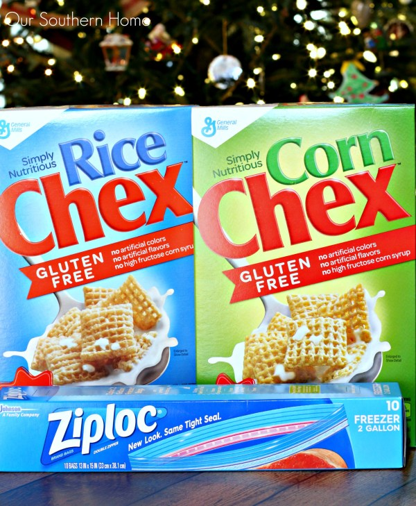 Homemade Chex Party Mix starts with your Chex cereal and Ziploc bags for storage via Our Southern Home #ad #mixexchangelove