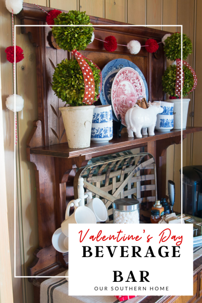 Details for creating a Valentine's Day beverage bar with adorable pom pom garland.