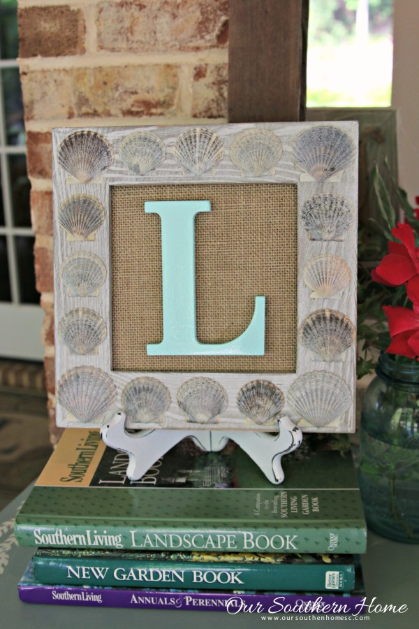 DIY Seashell Monogram Art with your beach treasures and supplies from Walmart by Our Southern Home