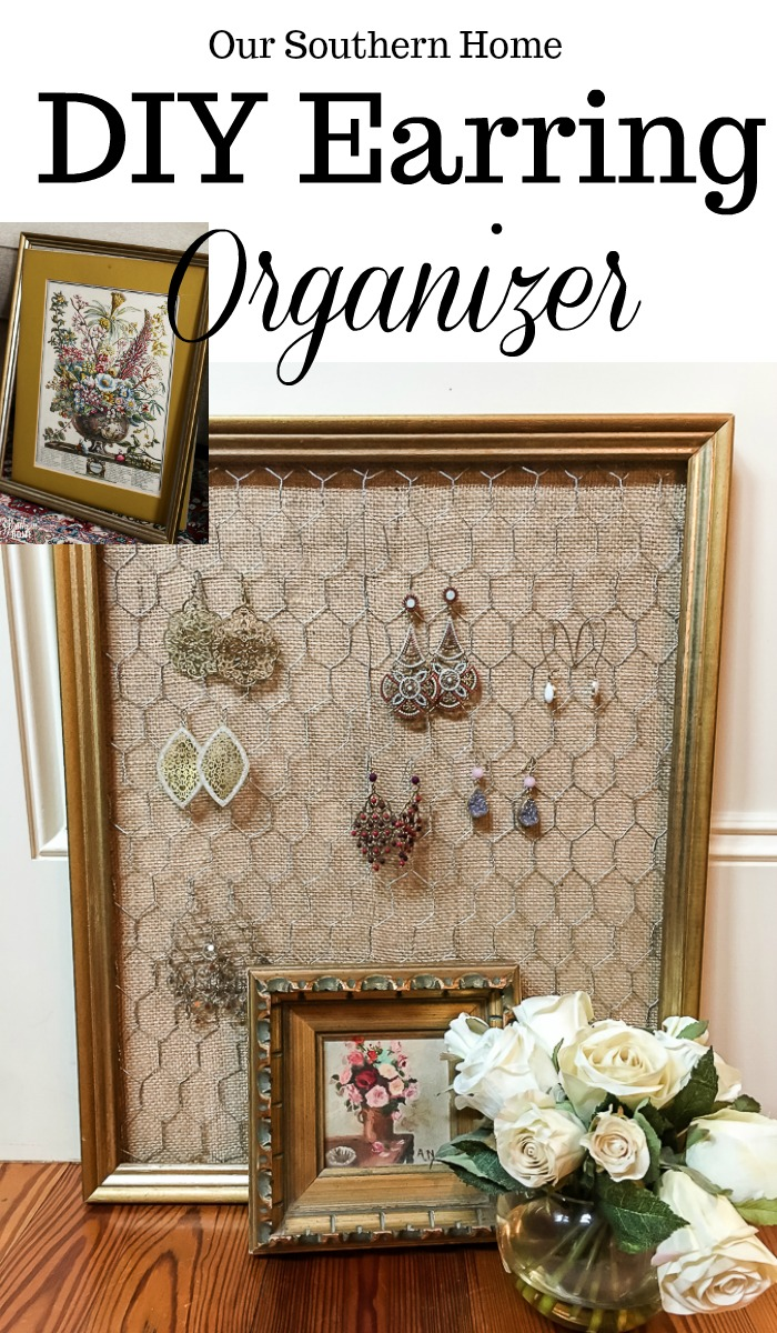 Thrift store framed art is easily turned into an earring organizer!