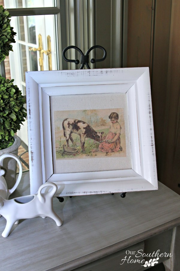 Thrift store frame becomes Farmhouse Art Makeover with little effort!