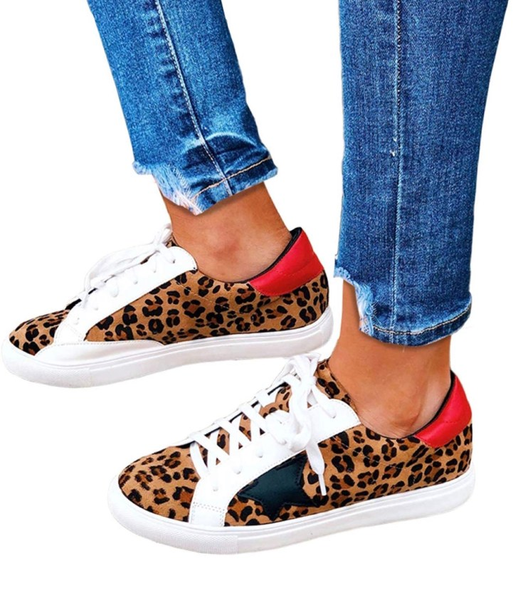 Womens Fashion Star Sneakers Lace Up Platform Glitter Low Top Comfort Walking Running Shoes