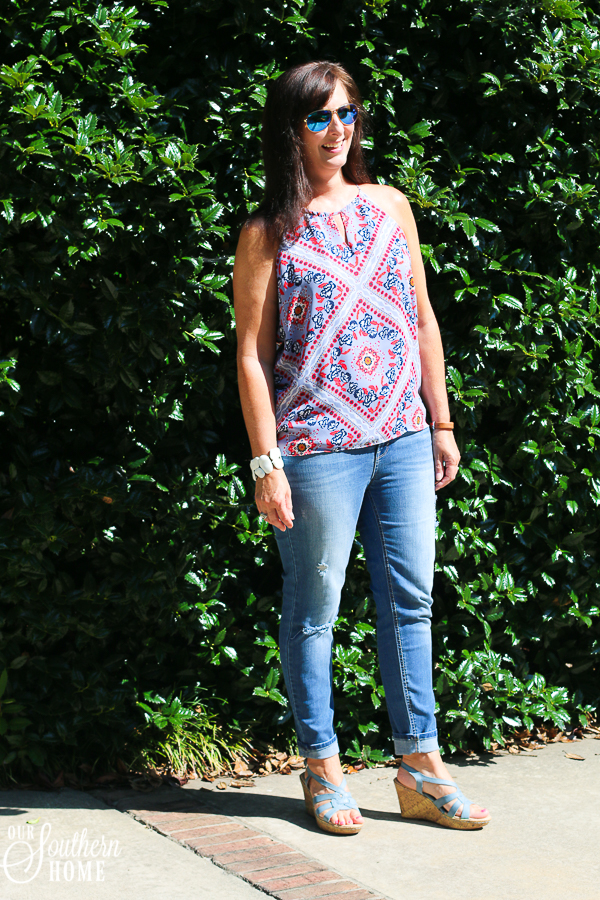 Distressed denim after 40! Yes, you can. It's all about the cut and how you wear them! Go for it!