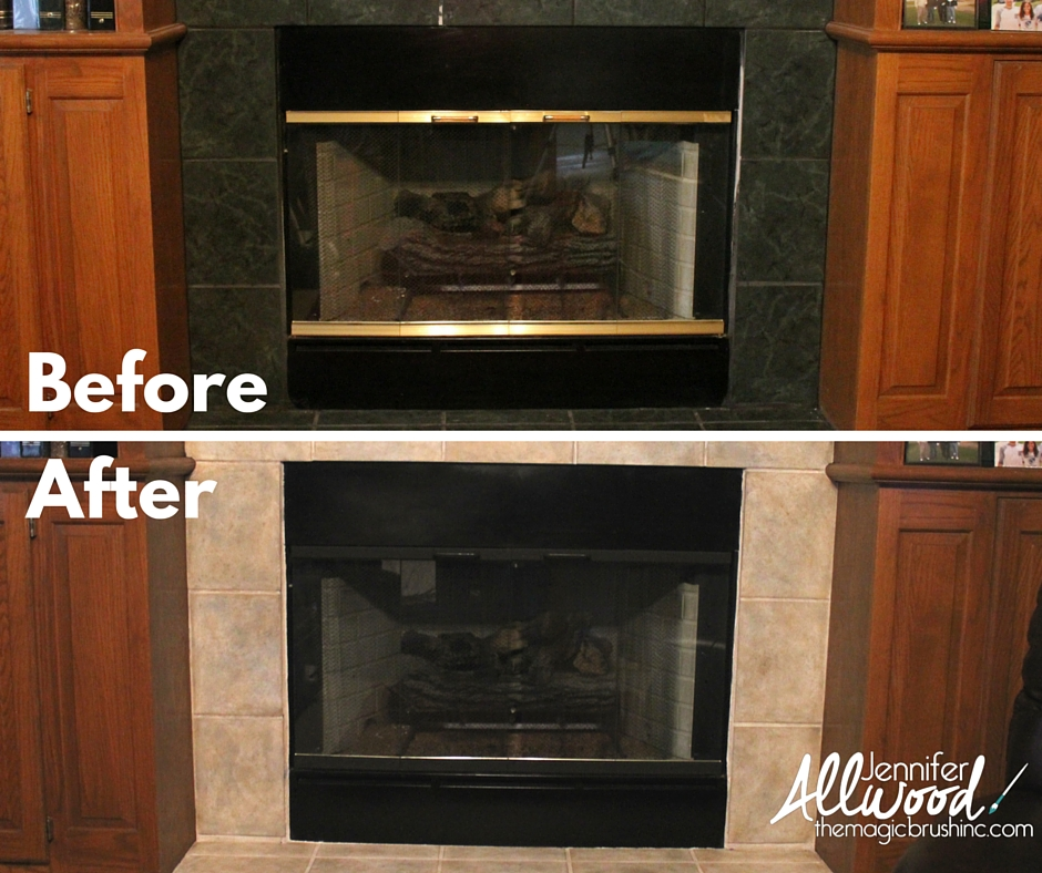 before after of painting brass fireplace trim