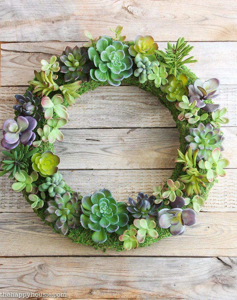 Pottery-Barn-Knock-Off-Faux-Succulent-Wreath-using-Make-it-Fun-Foam-Wreath-form.-20