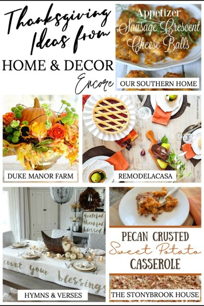 collage of food and decor for Thanksgiving