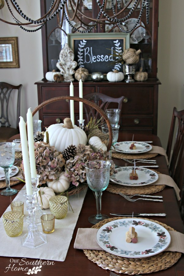 Thanksgiving tablescape using faux and fresh items by Our Southern Home