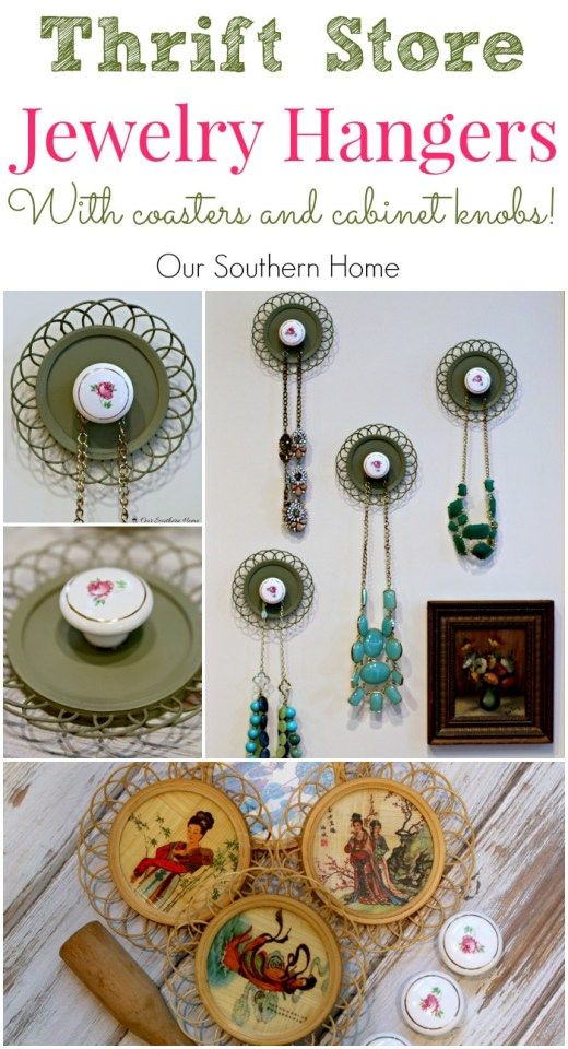 Jewelry Hangers made with coasters and cabinet knobs from a thrift store by Our Southern Home #SwapItLikeItsHot