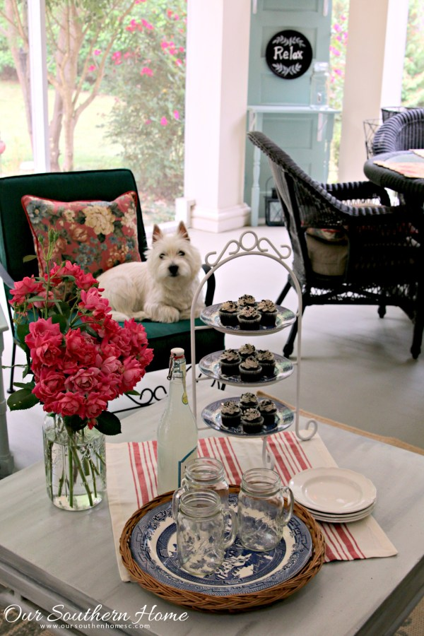 Thrift store plate stand makeover from Our Southern Home is wonderful for entertaining on the porch!