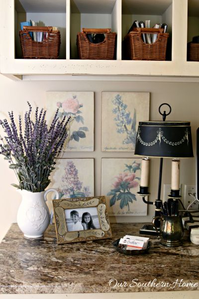 Thrift store artwork becomes a vintage hit in my French Farmhouse styled home office by Our Southern Home #thriftstoredecor