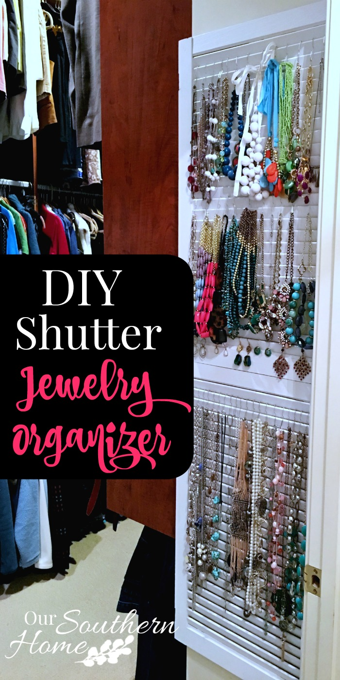 What a cool idea! Old thrift store shutters are perfect to organize your jewelry. Our Southern Home has all the details!