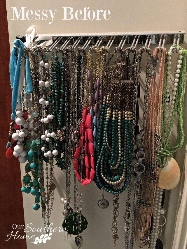 Before photo: What a cool idea! Old thrift store shutters are perfect to organize your jewelry. Our Southern Home has all the details!