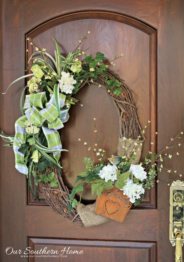 Beautiful upcycled spring wreath with a little bit of new and a lot of old by Our Southern home