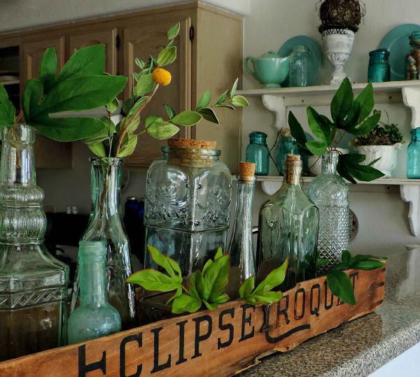 Vintage Bottles with Greenery
