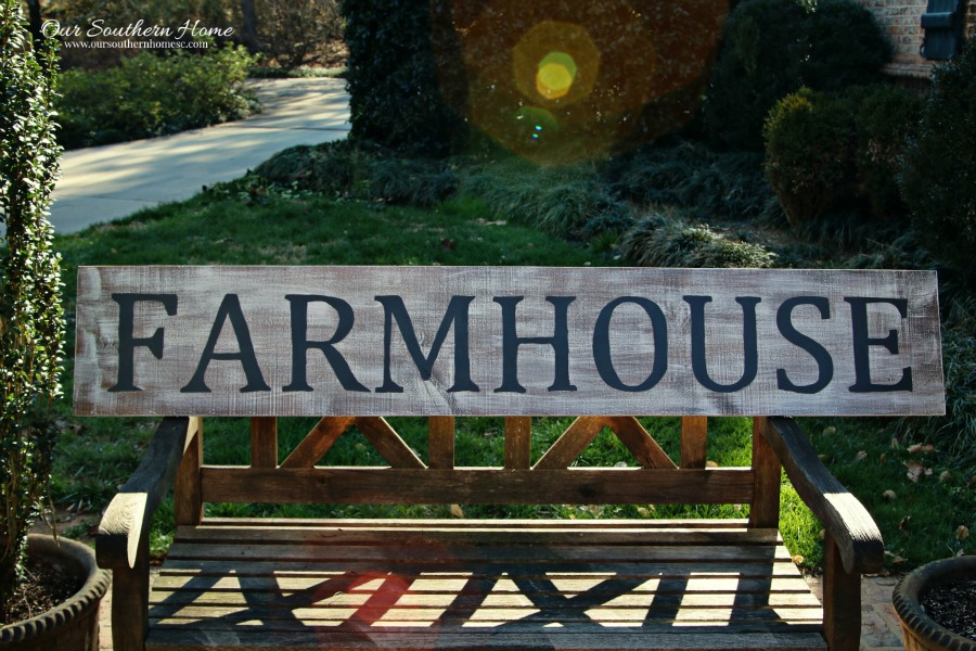 Large vintage look farmhouse sign tutorial by Our Southern Home